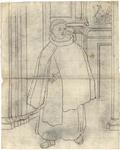 1976-3380 Tegelvoorbeeld met een voorstelling van een monnik met grote tonsuur in een interieur. Rechtsachter de ...