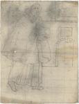 1976-3381 Tegelvoorbeeld met een voorstelling van monnik met korte mantel waaraan een puntkap; in een interieur. Op de ...