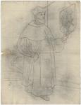 1976-3382 Tegelvoorbeeld met een voorstelling van een figuur in priesterkleding; een hoed met opstaande randen en een ...