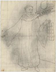 1976-3383 Tegelvoorbeeld met een voorstelling van een monnik in een lang gewaad met wijde mouwen; grote tonsuur. Rechts ...