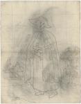 1976-3384 Tegelvoorbeeld met een voorstelling van figuur in lang gewaad waarover een lange mantel; hoed met brede ...
