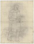 1976-3385 Tegelvoorbeeld met een voorstelling van een figuur in een lang gewaad waarover een halflange toga. Grote ...