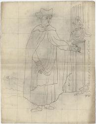 1976-3386 Tegelvoorbeeld met een voorstelling van een figuur, behorend tot de orde van St. Salvatoris, met mantel en ...