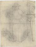 1976-3387 Tegelvoorbeeld met een voorstelling van een figuur in lang gewaad waarover een lange mantel. Hoed met brede ...