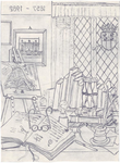 1982-4594 Tegelvoorbeeld met een voorstelling (in spiegelbeeld) van een studeerkamer met boeken op een bureau en in de ...