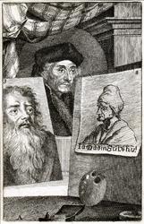M-614 Portret van Desiderius Erasmus, humanist. Portret 2 is Jan van Mandijn en portret 3 is H.Holbein den oude.