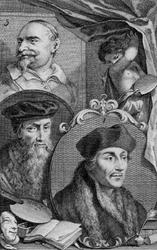 M-615 Portret van Desiderius Erasmus, humanist. Portret 2 is David Jorisz. en portret 3 is Johan Snellings.