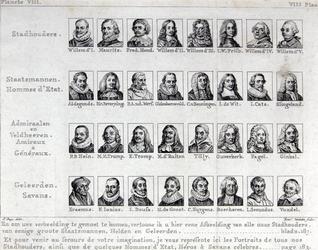 M-639 Portret van Desiderius Erasmus, humanist, linksonder met nog 31 andere portretten van o.a. stadhouders en geleerden.