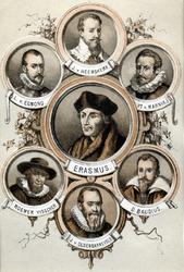 M-641 Portret van Desiderius Erasmus, humanist met 6 portrettten van andere personen.