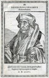 M-657 Portret van Desiderius Erasmus, humanist met de linkerhand op het hoofd van de god Terminus.