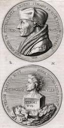 M-668 Portret in medaillon op gedenkpenning van Desiderius Erasmus, humanist. Het andere portret is van de god Terminus.