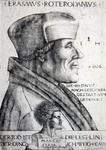 M-671 Portret van Desiderius Erasmus, humanist. Onderaan een buste van de god Terminus.