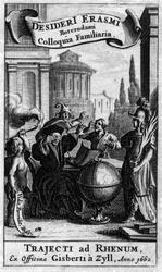 M-676 Portret van Desiderius Erasmus, humanist. 2e van links op de prent met andere personen en allegorische figuren.