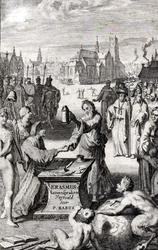 M-677 Portret van Desiderius Erasmus, humanist. Met andere personen, op de achtergrond de Sint-Laurenskerk.