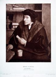 M-678-NB-1 Portret van Petrus Aegidius, afgebeeld als Desiderius Erasmus.
