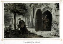 M-678-NB-A Portret van Desiderius Erasmus, humanist. Erasmus als jonge monnik, betrapt op het stelen van pruimen.