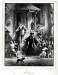 M-678-NB-C Portret van Desiderius Erasmus, humanist. Erasmus te midden van een troep joelende kinderen.