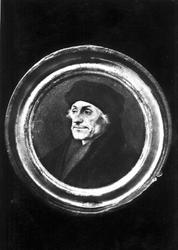 P-004512 Portret in medaillon van Desiderius Erasmus, humanist. Uitgegeven in het Erasmusjaar 1969 door de afdeling ...