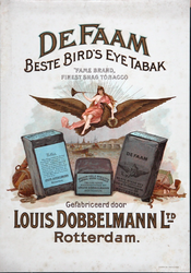 XI-0000-0056 De Faam. Beste Bird's Eye Tabak Fame Brand finest shag tobacco. Gefabriceerd door Louis Dobbelmann Ltd. ...