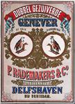 XI-0000-0129 Dubbel gezuiverde Genever. P. Rademaker & Co. Fabrikanten Delfshaven bij Schiedam. De Valk. De Gekroonde Valk.