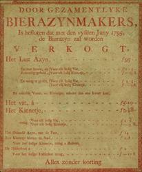 XX-1967-0635 Door gezamentlijke Bierazynmakers is besloten dat met den vyfden Juny 1795 de bierazyn zal worden verkogt, ...