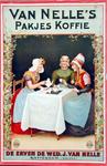 2002-624 Reclame voor verpakte koffie van Van Nelle. De vrouw links draagt protestantse kleding uit Zuid-Beveland. De ...