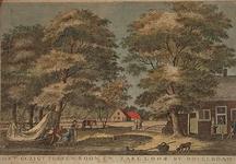 1967-549 Brug over een water met boerenwoningen in een omgeving met veel bomen.