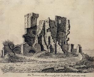 1968-1334 De ruïne van Koningsfeldt bij Delft omstreeks 1573.