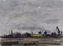 1969-2343 De omgeving van de Sint-Laurenshaven. In het midden (geel) de zwavelopslagplaatsen van Frans Swarttouw.