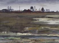 1969-2344 De omgeving van de Sint-Laurenshaven, in het midden het overslagbedrijf van Frans Swarttouw.