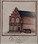 1969-25 Gezicht op een huis aan de Hoogstraat, met beeld van Sint Pieter.