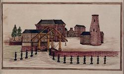1969-27 Oostmolenwerf, brug over het Haringvliet, rechts Boerengat Rooleeuwmolen zonder wieken.