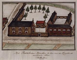 1969-61 Het Predikherenklooster, te zien aan de Hoogstraat, omstreeks 1600.