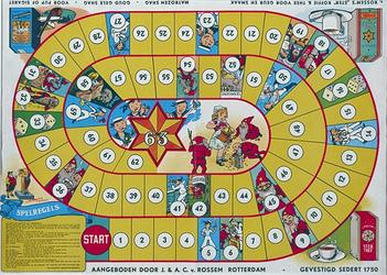 1970-1243 Ganzebordspel, met afbeeldingen van door Van Rossem geproduceerde artikelen.