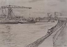 1971-1273 Krimpen aan den IJssel met rechts de Schaardijk en links de scheepswerf.