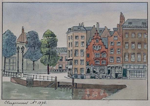 1971-1565 Slepersvest uit het zuidoosten. In het midden het Schippershuisje of Veerhuis.