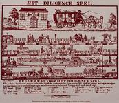 1971-1728 Kinderspel op papier met afbeeldingen uit het postwezen..Onder: het reglement voor het diligence spel.