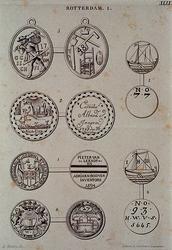 1971-2055 Gildepenningen met diverse afbeeldingen van wapens, schepen en gereedschap.
