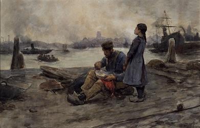 1972-1064 Vaders middagmaal. Man, met voorschoot aan, mogelijk havenarbeider, zittend op de kade langs de Nieuwe Maas, ...