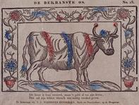 1972-1865 Kinderprent: afbeelding van een stier, versierd met bloemenkransen.