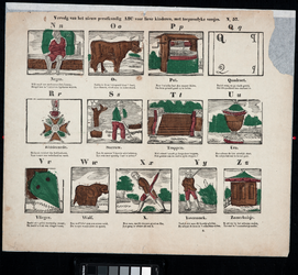 1972-1866 Kinderprent: 13 ingekleurde afbeeldingen met betrekking tot de letters N t/m Z van het alfabet, met daaronder ...