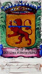 1972-1885 Wapen van jhr. mr. Diedr. Gregorius van TeylingenIngekleurd wapen: leeuw naar links, gedeeld door barensteel. ...