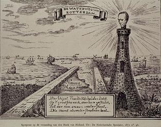 1972-491 1871Spotprent op de verzanding van Hoek van Holland.Afbeelding van de verzande nieuwe Maasmond, met rechts een ...