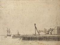 1973-1315 Het westelijk en verderop het middelste havenhoofd van Delfshaven aan de Nieuwe Maas. De gebouwen rechts ...