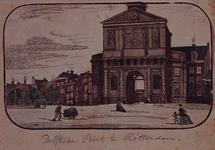 1973-4028 Delftse Poort aan de Coolsingel met links huizen aan de Galerij, gezien uit het noordwesten.