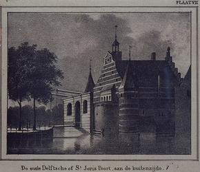 1973-4032 De Delftse Poort (vóór 1766), aan de Coolsingel, gezien uit de westelijke richting.