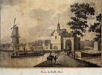 1973-4035 Gezicht op de Delftse Poort aan de Pompenburgsingel met links een aanleggende trekschuit en molen De Blauwe ...