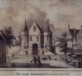 1973-4054 De Goudse Poort aan de Goudsewagenstraat, gezien vanuit de stad.