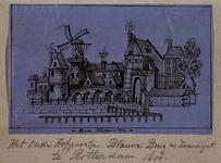 1973-4061 Hofpoort met links de Blauwe molen en de Blauwe brug over de Binnenrotte, Zwanengat, en Pompenburg, te Rotterdam.