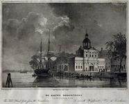 1973-4076 Onder de afbeelding de titel. Daaronder 'The New Head Gate from the Leuwehaven' (links) en 'La nouvelle ...